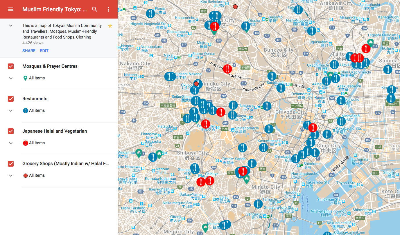 Map of Muslim eats and places of worship in Tokyo