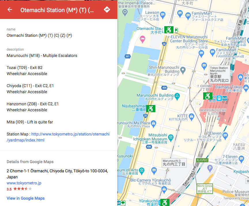 Reading information on where lifts are located in Tokyo subway stations